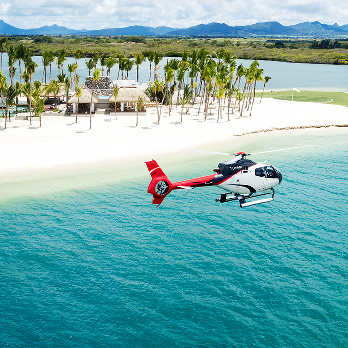 Helicopter flip in the Seychelles
