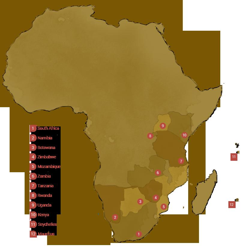 Safari Tour Destination map with Hospitality Africa Safaris